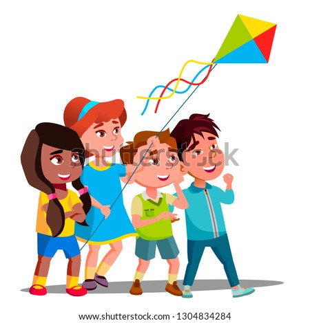 Multinational Children Flying Multi-Colored Kite Into The Sky Vector. Isolated Illustration Stock photo © pikepicture