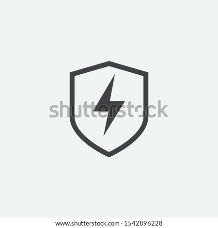 lightning and shield symbol protect vector logo template icon vector illustration isolated on white stock photo © kyryloff