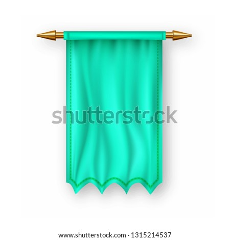 Green Pennat Flag Vector. Empty Template. Banner Pennon. Sign Blank. Heraldic 3D Realistic Isolated  Stock photo © pikepicture