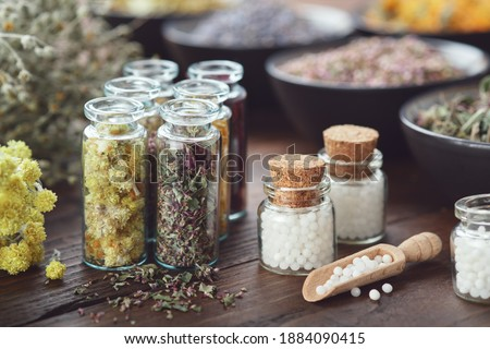 A bottle of homeopathic pills with dried herbs and materia medica stock photo © madeleine_steinbach