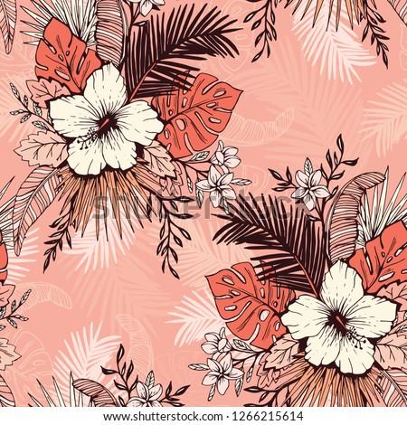 Korall rózsaszín vektor végtelenített virágmintás minta Stock fotó © Iaroslava