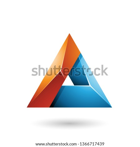 orange and blue 3d glossy triangle with a hole vector illustrati stock photo © cidepix