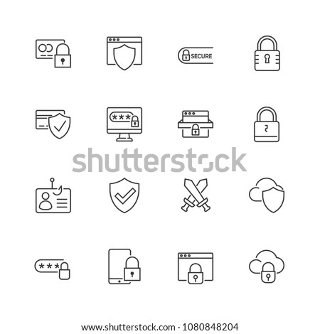 Mobile security line icon. Smartphone with padlock linear style sign for mobile concept and web desi Stock photo © kyryloff