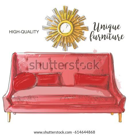 красный Vintage диван акварель вектора диване Сток-фото © frimufilms