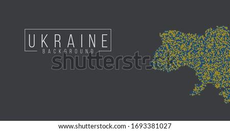 Ukrainian flag brush style background with ukrainian map contour. vector illustration Stock photo © kyryloff