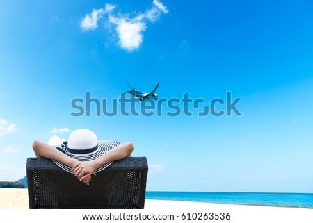 young woman on the beach and landing planes travel concept banner long format stock photo © galitskaya