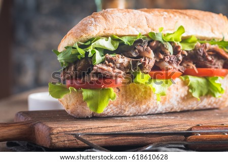 Sandwiche with beef and fresh tomatoes Stock photo © Melnyk