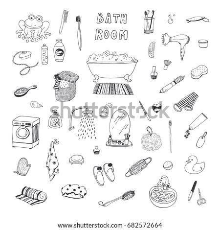 Bathroom hand drawn doodles illustration. Bath objects and elements background. Stock photo © balabolka