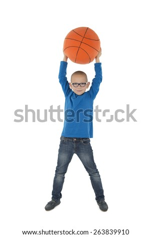 Young handsome basketballer holding ball over his head during game Stock photo © pressmaster