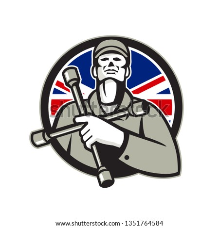 British Tyre Technician Lug Wrench Union Jack Flag Circle Icon Stock photo © patrimonio