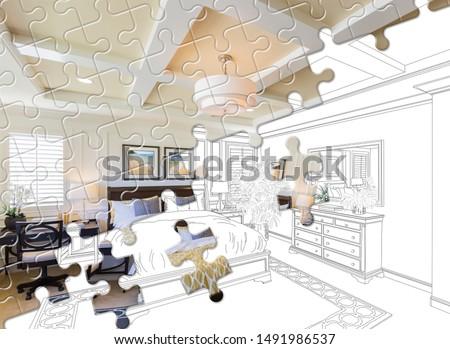 Puzzelstukjes samen afgewerkt meester slaapkamer bouwen Stockfoto © feverpitch