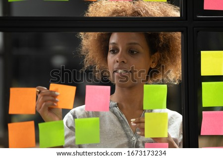 jonge · creatieve · professionele · leider · post-it · merkt - stockfoto © freedomz