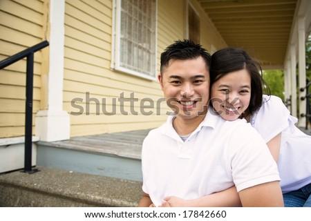Gelukkig lachend veranda huis Stockfoto © feverpitch