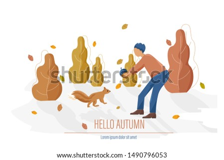 Autumn card with man feeding a squirrel Vector flat style illust Stock photo © frimufilms