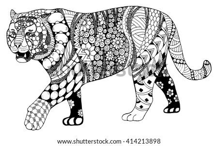 Zentangle tiger head with mandala . Hand drawn decorative vector illustration Stock photo © Natalia_1947