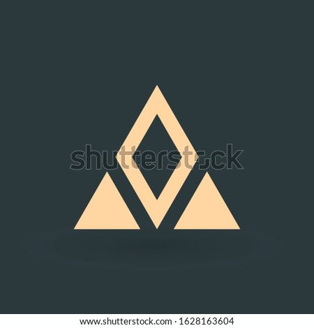 Geometrical triangle and rhombus or arrow in three parts logo design. Technology business identity c Stock photo © kyryloff