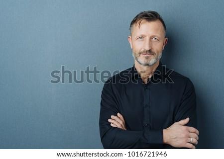 Sério idoso barbudo homem imagem negativo Foto stock © deandrobot