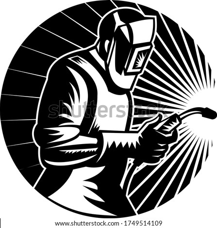 MIG Welder Arc Welding with Welding Torch Side View Circle Retro Black and White Stock photo © patrimonio