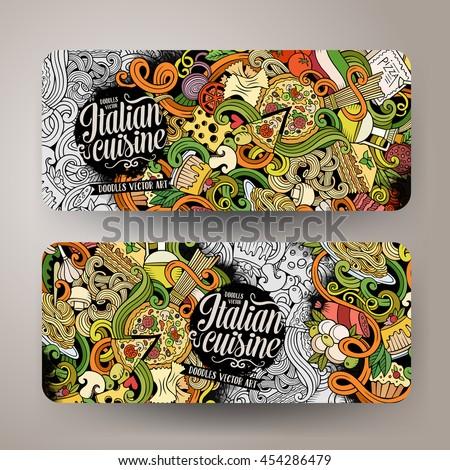 Corporate Identity templates set design with doodles Pizza theme Stock photo © balabolka