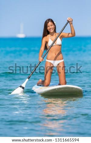 Kadın sörfçü plaj sörf okul sörf Stok fotoğraf © Maridav