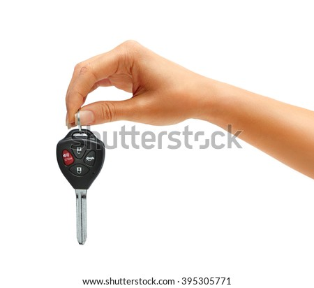 Car business woman woman showing design concept. car rental or insurance care small blue automobile  Stock photo © Maridav