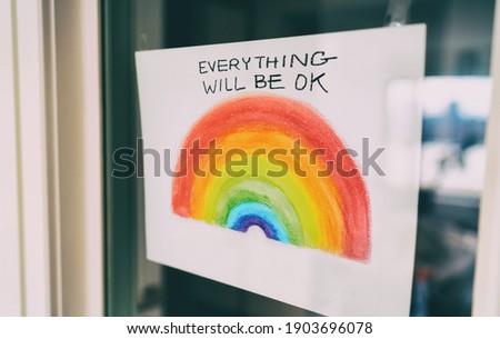 Arco-íris janela desenho positividade comunidade coronavírus Foto stock © Maridav