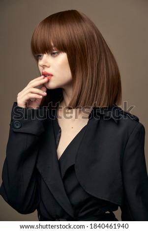 Bájos nő mosolyog barna hajú hosszú fény barna haj Stock fotó © Anneleven