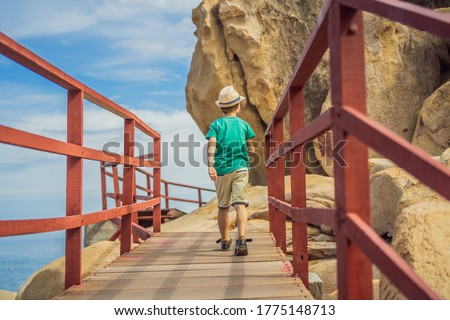Little boy on boardwalk with stairs to the beach, vacation concept Stock photo © galitskaya