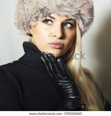 Closeup portrait of young beautiful woman wearing russian tradit Stock photo © HASLOO