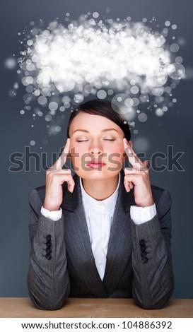Hermosa europeo jóvenes sólido mujer de negocios sesión Foto stock © HASLOO