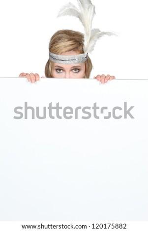 Mulher ocultação atrás cara Foto stock © photography33