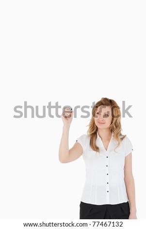 yalıtılmış · kadın · çizim · bakıyor · kamera · beyaz - stok fotoğraf © wavebreak_media