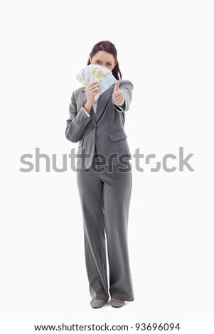 üzletasszony rejtőzködik bank jegyzetek kéz fehér Stock fotó © wavebreak_media