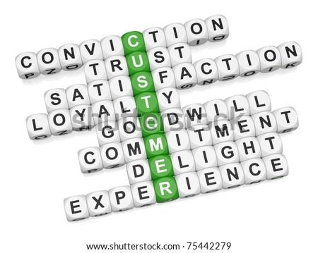 Stock photo: Customer positive experience crossword on white background 3D re