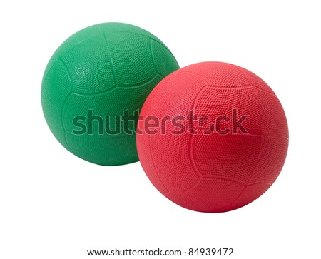 Red and green medicine ball for muscle building and sport games Stock photo © JohnKasawa