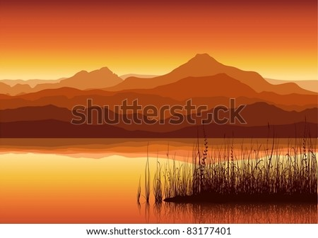 abstract sunset in mountain with grass silhouette vector illust stock photo © wad