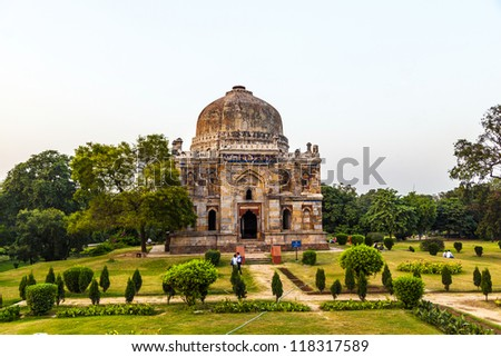 Lodi Gardens. Islamic Tomb (Bara Gumbad) set in landscaped garde Stock photo © meinzahn