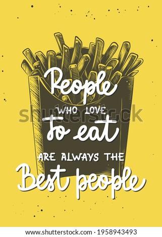 Slogan fries pessoas parede Foto stock © meinzahn