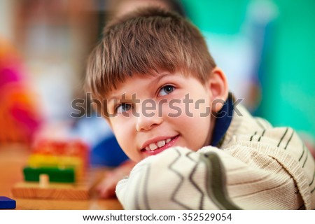 smiling boy inside a center Stock photo © meinzahn