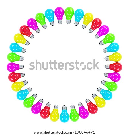 colorful light bulbs forming a frame isolated contains clipping path stock photo © kirill_m