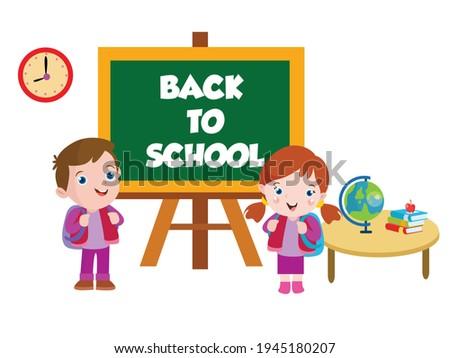 Okula geri küçük sevimli öğrenci dünya kız Stok fotoğraf © carodi
