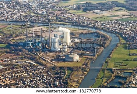 Antenne hoofd- rivier Duitsland energie Stockfoto © meinzahn