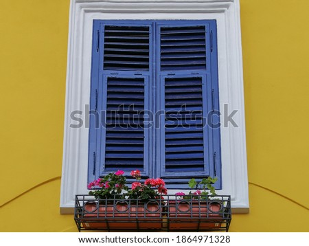 Blue house facade with wooden window from Sighisoara city old ce Stock photo © pixachi