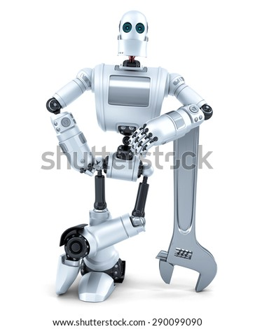 Robot with wrench. Technology concept. Isolated. Contains clipping path Stock photo © Kirill_M