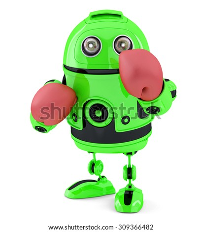 Green robot with blue boxing gloves. Isolated. Contains clipping path. Stock photo © Kirill_M