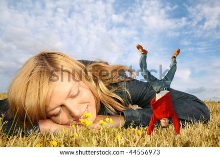 young woman lies on the grass and miniature boy on hands collage Stock photo © Paha_L