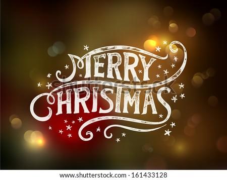 Neşeli Noel matbaacılık el yazısı vektör kar taneleri Stok fotoğraf © rommeo79