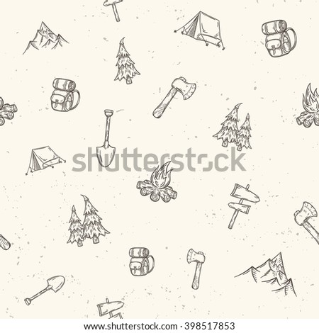 seamless pattern hand drawn camping adventure set doodle elements stock photo © netkov1