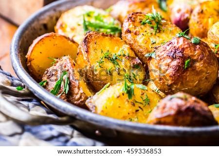 Stock photo: Roasted potatoes