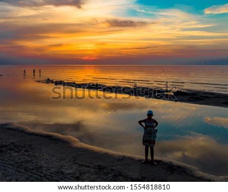 nature landscape on beach coast with sunset sky stock photo © cienpies